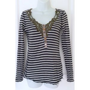 Free People Navy Striped Button Lace Long Sleeve